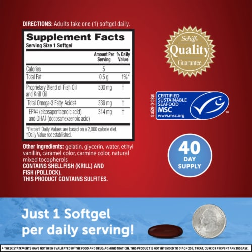 Schiff MegaRed Advanced 4-in-1 Omega-3s Fish Oil & Krill Oil Dietary Supplement Softgels 500mg Perspective: left