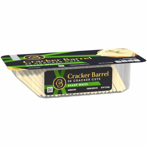 Cracker Barrel Sharp White Cheddar Cheese Cracker Cuts Perspective: left