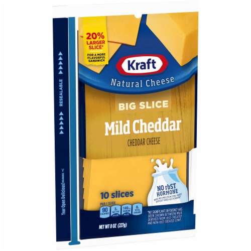 Kraft Big Slice Mild Cheddar Cheese Slices Perspective: left