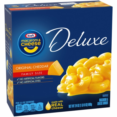 Kraft Original Cheddar Macaroni & Cheese Deluxe Family Size Perspective: left