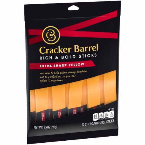 Cracker Barrel Extra Sharp Yellow Cheddar Cheese Sticks 10 Count Perspective: left