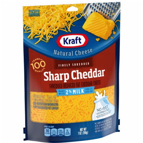 Kraft Sharp Cheddar Shredded Cheese Made with 2% Milk Perspective: left