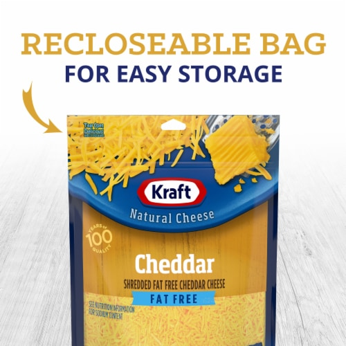 Kraft Fat Free Natural Cheddar Cheese Shreds Perspective: left