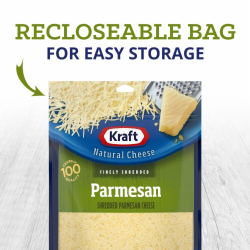 Kraft Finely Shredded Parmesan Cheese Perspective: left