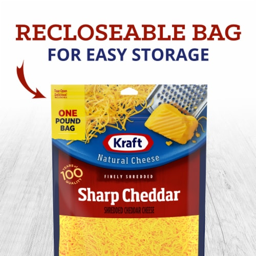 Kraft Finely Shredded Sharp Cheddar Cheese Perspective: left