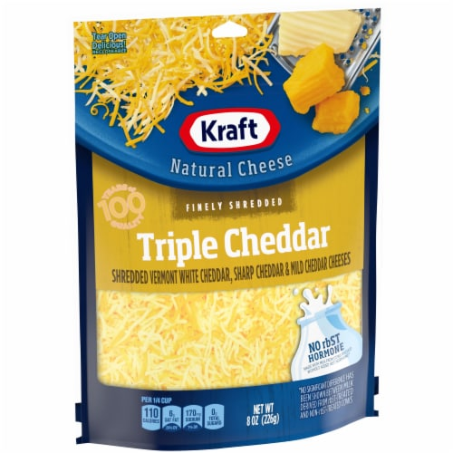 Kraft Finely Shredded Triple Cheddar Cheese Perspective: left