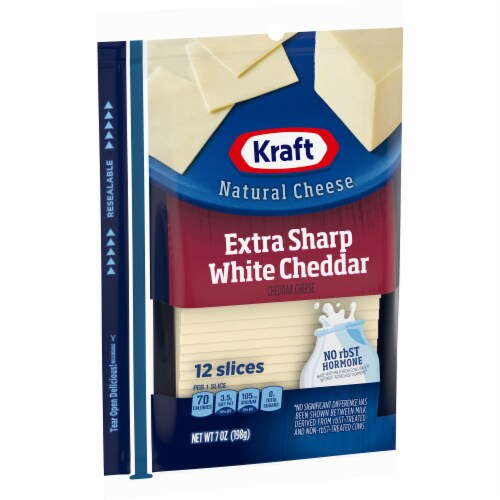 Kraft Extra Sharp White Cheddar Cheese Slices Perspective: left