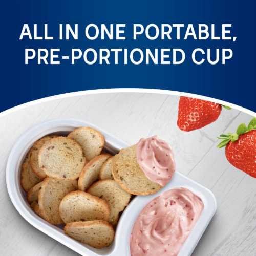 Philadelphia Bagel Chips & Strawberry Cream Cheese Dip Perspective: left