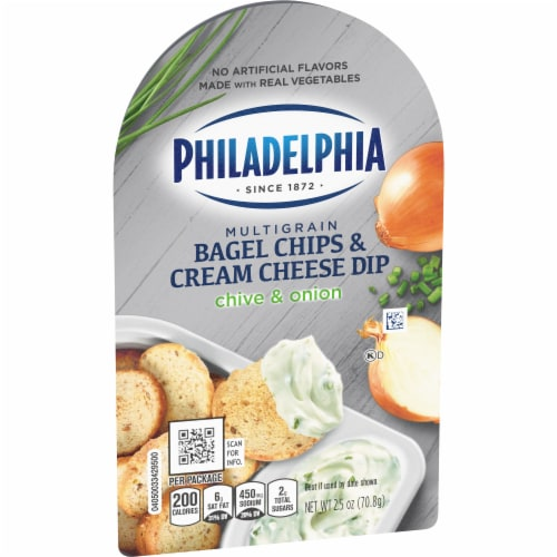 Philadelphia Bagel Chips and Chive & Onion Cream Cheese Dip Perspective: left