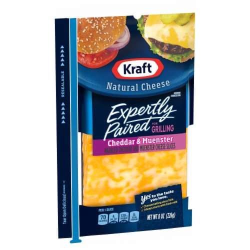 Kraft Expertly Paired Cheddar & Muenster Cheese Slices Perspective: left