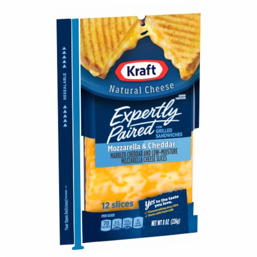 Kraft Expertly Paired Mozzarella & Cheddar Cheese Slices Perspective: left