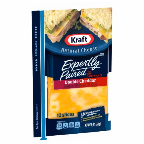Kraft Expertly Paired Double Cheddar Cheese Slices Perspective: left