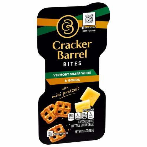 Cracker Barrel Vermont Sharp White and Gouda Bites with Mini Pretzels Perspective: left