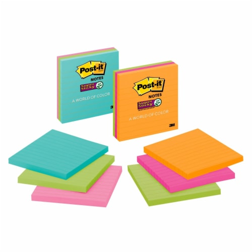 Post-it® Lined Super Sticky Notes - 3 Pack - Assorted Perspective: left