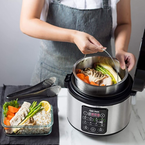 Aroma Professional Stainless Steel 12-Cup Smart Carb Rice Cooker with 8 Presets Perspective: left