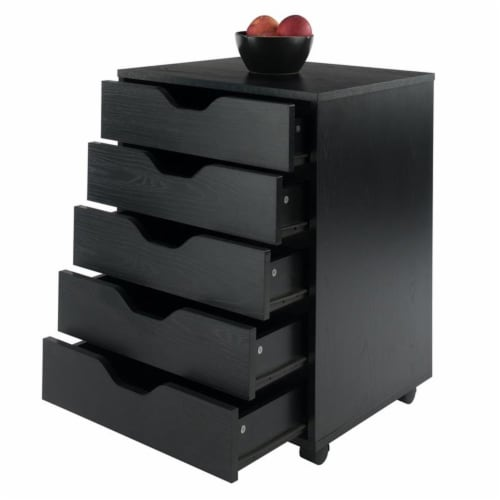 Halifax Cabinet for Closet / Office, 5 Drawers, Black Perspective: left