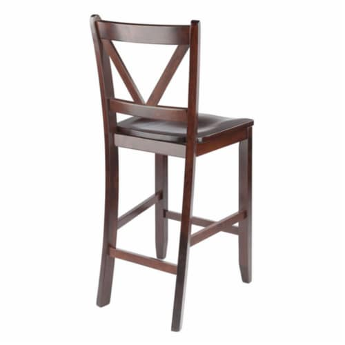 Winsome Victor 24 Inch Tall Solid Wood Counter Bar Stool Set, 2 Piece, Brown Perspective: left