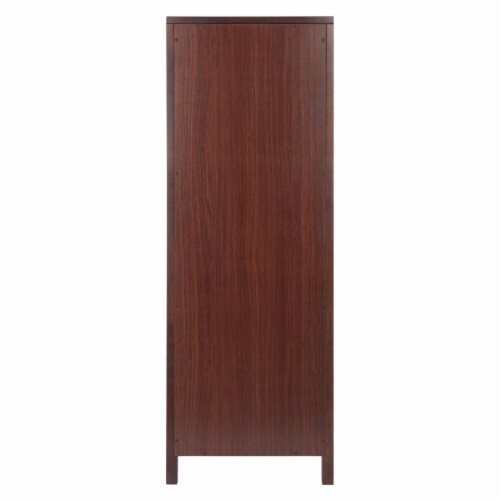 Winsome Brooke 2 Section Wooden Jelly Cupboard Cabinet in Walnut Perspective: left