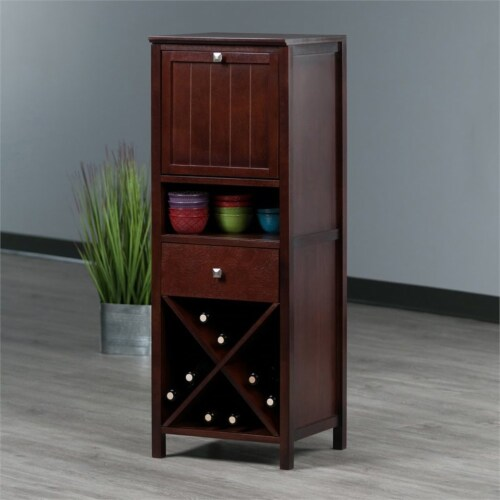 Brooke Jelly Cupboard, 4-Section Cabinet, Walnut Perspective: left