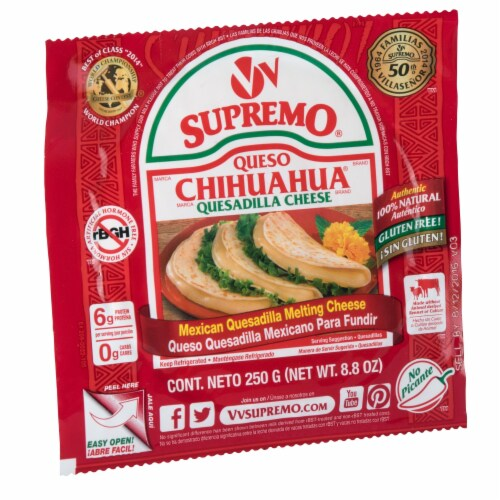 VV Supremo Queso Chihuahua Mexican Quesadilla Melting Cheese Perspective: left