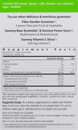 Rainbow Light Omegalicious Sour Raspberry Flavor Omega-3 Gummies Packets 30 Count Perspective: left