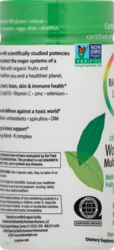 Rainbow Light Organic Women's Multivitamin Vegetarian Capsules Perspective: left