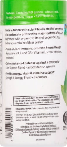 Rainbow Light Organic Men's Multivitamin Vegetarian Capsules Perspective: left