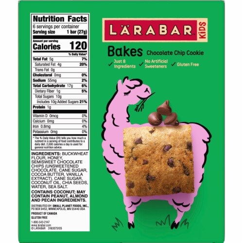 Larabar Kid Chocolate Chip Cookie Bars Perspective: left