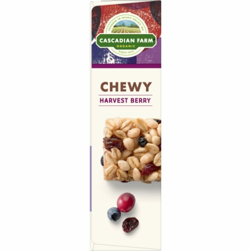 Cascadian Farm Organic Harvest Berry Chewy Granola Bars 6 Count Perspective: left
