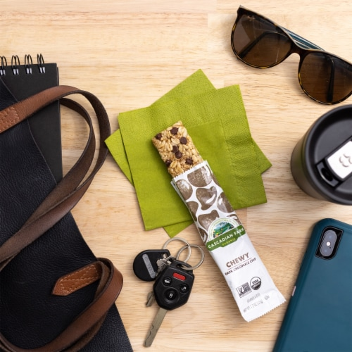 Cascadian Farm Organic Dark Chocolate Chip Chewy Granola Bars Perspective: left
