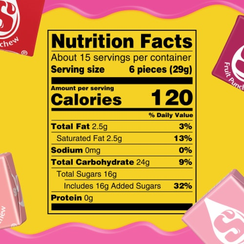 Starburst Fave Reds Sharing Size Fruit Chews Perspective: left