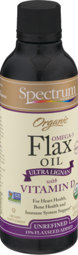 Spectrum Essentials Organic Flax Oil with Vitamin D Perspective: left