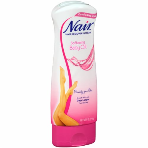Nair Softening Baby Oil Hair Remover Lotion Perspective: left