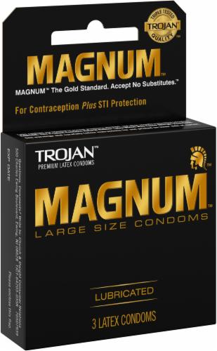Trojan Magnum Large-Size Lubricated Condoms Perspective: left