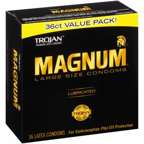 Trojan Magnum Lubricated Large Size Condoms Value Pack Perspective: left