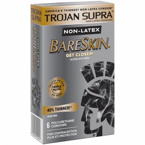 Trojan Supra BareSkin Non-Latex Polyurethane Lubricated Condoms Perspective: left