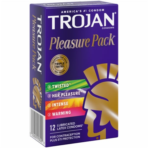 Trojan Pleasure Pack Lubricated Latex Condoms Variety Pack Perspective: left