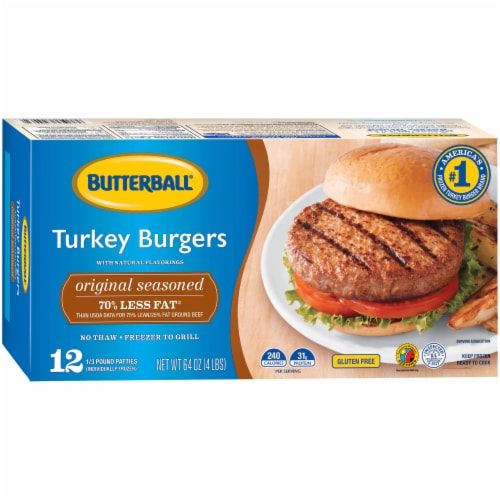 Butterball Original Seasoned Turkey Burgers Perspective: left