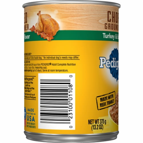 Pedigree Chopped Ground Dinner with Turkey & Bacon Flavor Wet Dog Food Perspective: left
