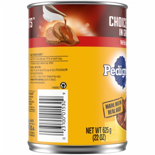Pedigree Choice Cuts in Gravy with Beef Wet Dog Food Perspective: left