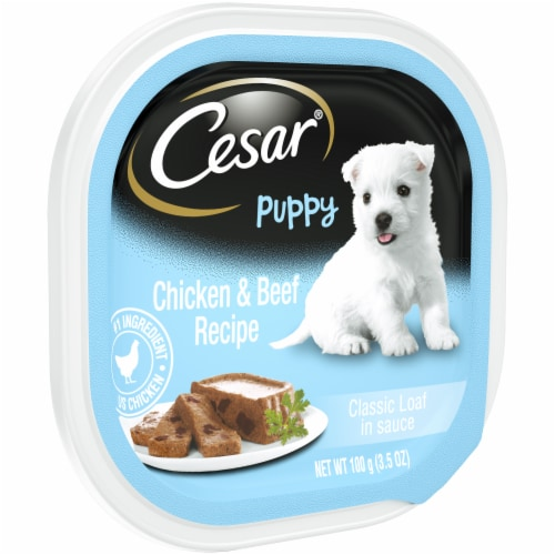 Cesar Puppy Classic Loaf in Sauce Chicken & Beef Recipe Wet Dog Food Perspective: left