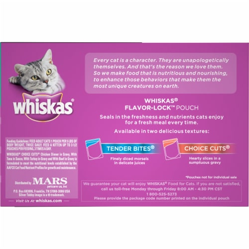 Whiskas Choice Cuts Chef's Favorites Variety Pack Wet Cat Food Pouches Perspective: left