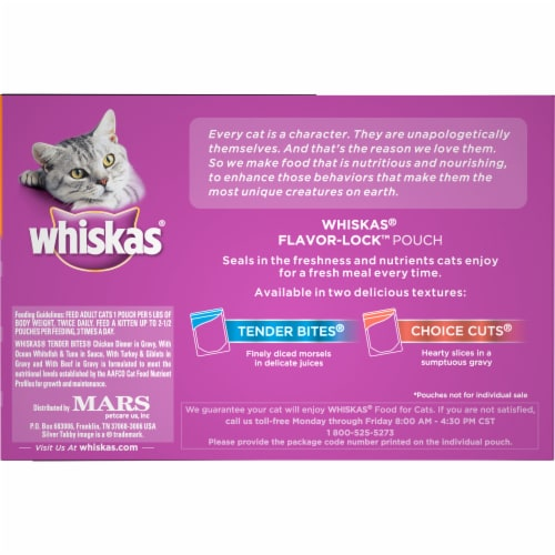 Whiskas Tender Bites Favorite Selections Cat Food Variety Pack Perspective: left