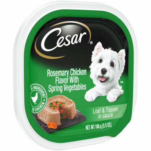 Cesar Loaf & Topper in Sauce Rosemary Chicken with Spring Vegetables Flavor Wet Dog Food Perspective: left