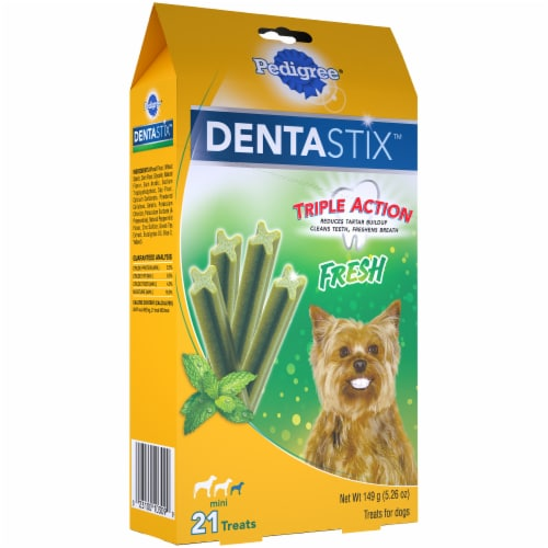 Pedigree DentaStix Triple Action Fresh Oral Care Treats for Small Dogs 21 Count Perspective: left