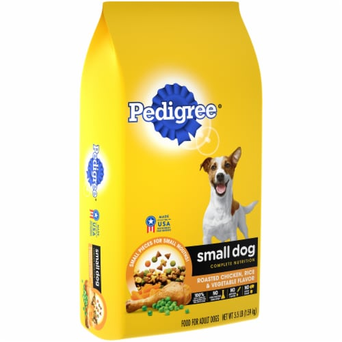Pedigree Complete Nutrition Roasted Chicken Rice & Vegetable Small Dog Dry Dog Food Perspective: left