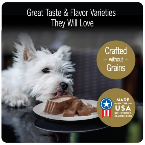 Cesar Loaf & Topper Rotisserie Chicken & Filet Mignon Wet Dog Food Variety Pack Perspective: left