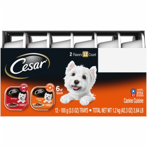 Cesar Canine Cuisine Beef and Chicken & Liver Recipe Wet Dog Food 2 Flavors Variety Packs Perspective: left