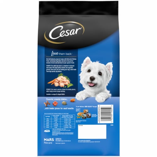 Cesar Rotisserie Chicken Flavor Small Breed Dry Dog Food Perspective: left
