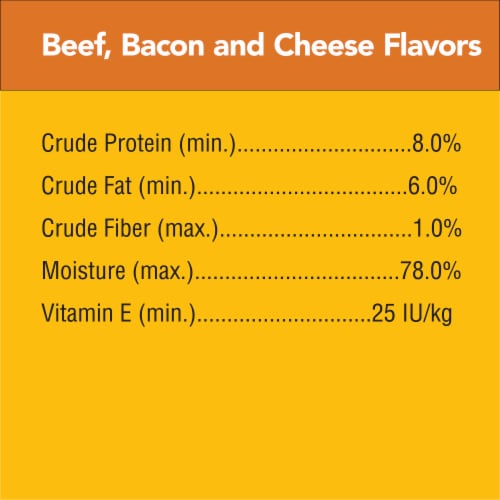 Pedigree Chopped Ground Dinner with Beef Bacon & Cheese Flavors Wet Dog Food Perspective: left